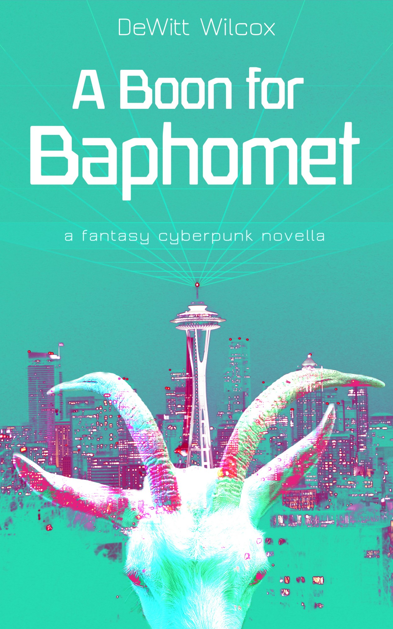 Cover image, with the Seattle cityscape and a goats head with a cyberpunk matrix grid above it